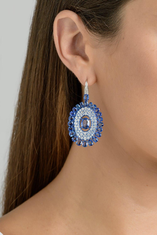 Kessaris-Sapphire Diamond Shield Earrings