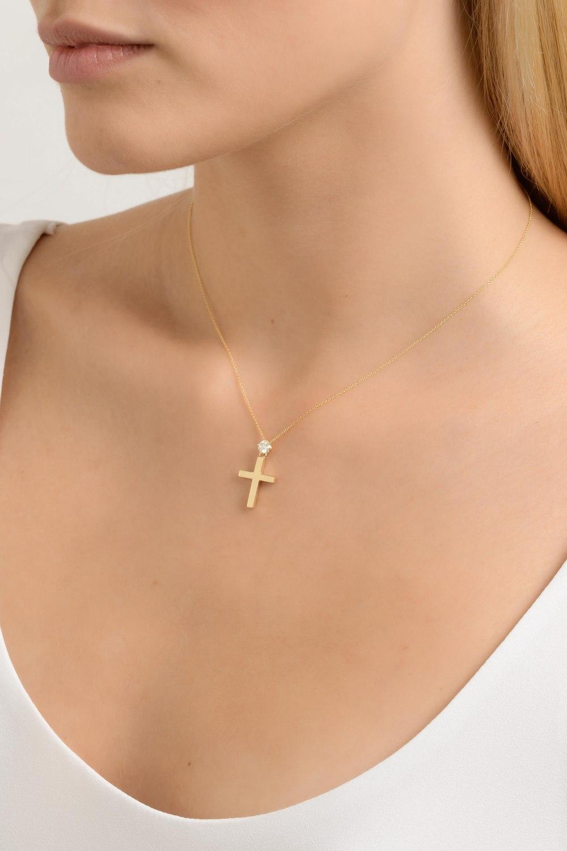 Kessaris-Yellow Gold Diamond Cross Necklace