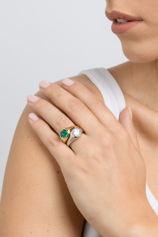 Yellow & White Gold Brilliant Diamond Emerald Ring