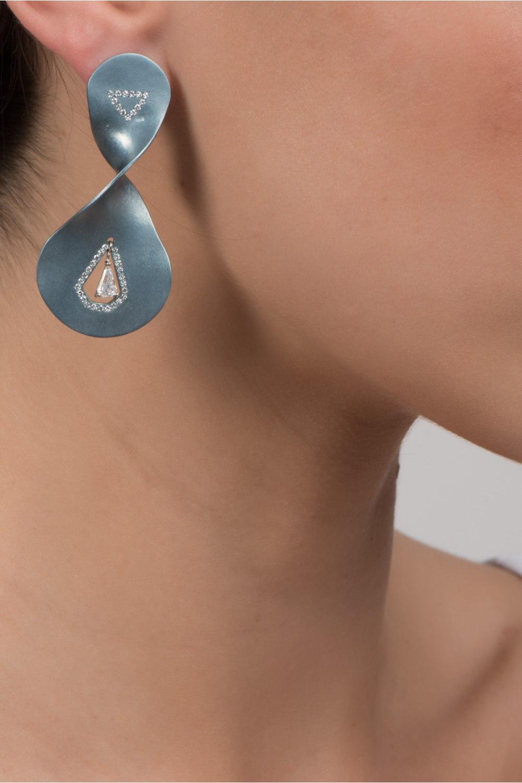 Diamond Twist Light Blue Titanium Earrings