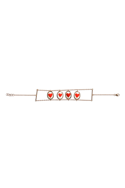 Lips Hearts Gold Two Sided Bracelet