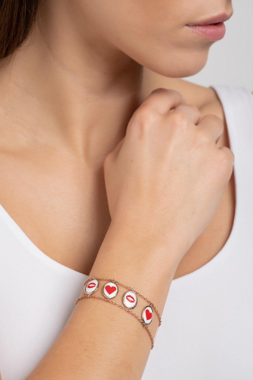 Lips Hearts LaLa Gold Two Sided Bracelet