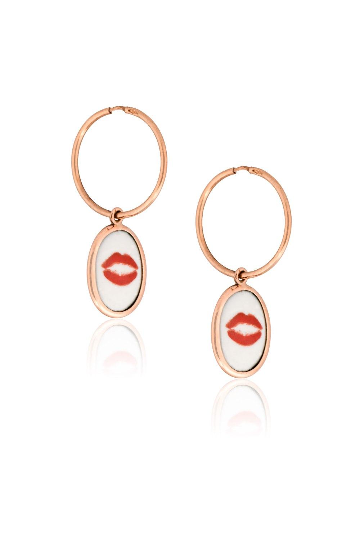 Lips Hearts Gold Two Sided Earrings