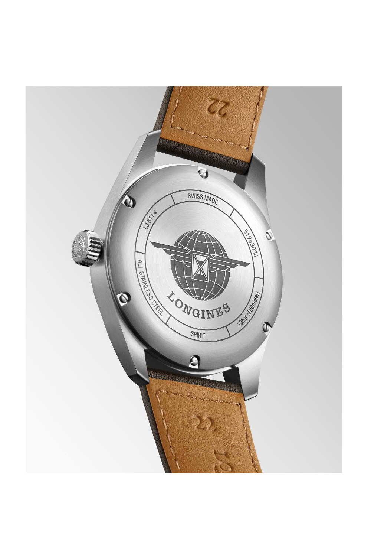 Longines Spirit L3.811.4.53.3 black dial brown leather strap