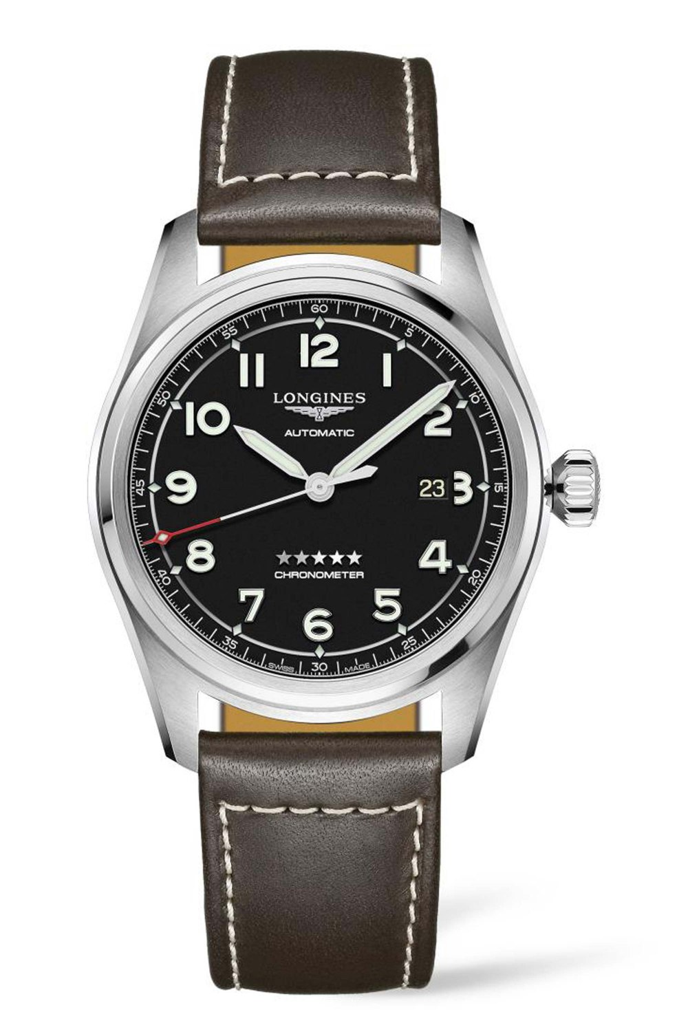 Longines Spirit L3.811.4.53.3 black dial brown leather strap