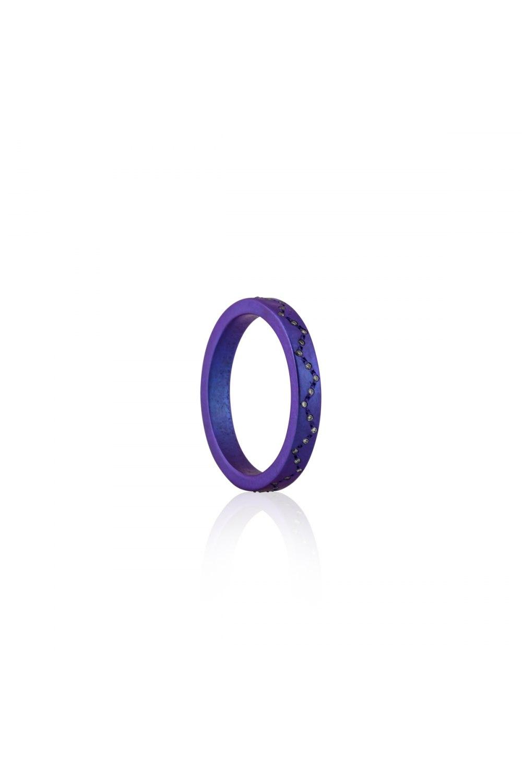 Round and Around Purple Titanium Diamond Ring