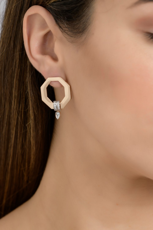 Geometric Gold Diamond Earrings
