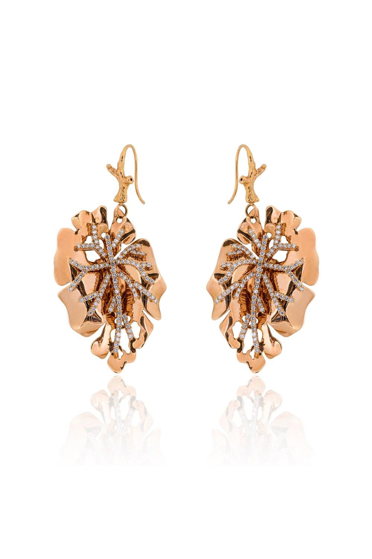 Kessaris-Gold Diamond Maple Leaf Earrings