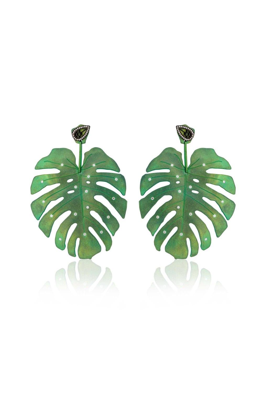 Tropicalia Green Titanium Earrings with Diamond Studs