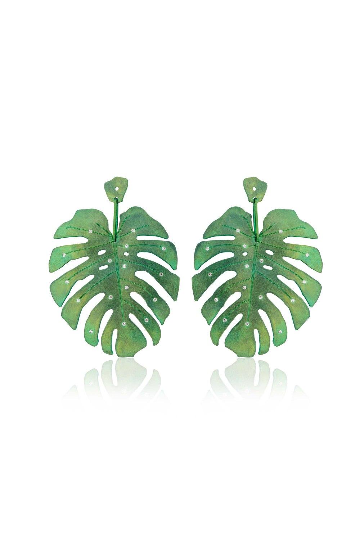 Tropicalia Green Titanium Diamond Earrings