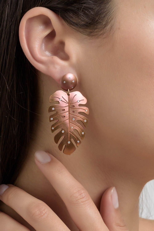 Tropicalia Rose Gold Titanium Diamond Earrings