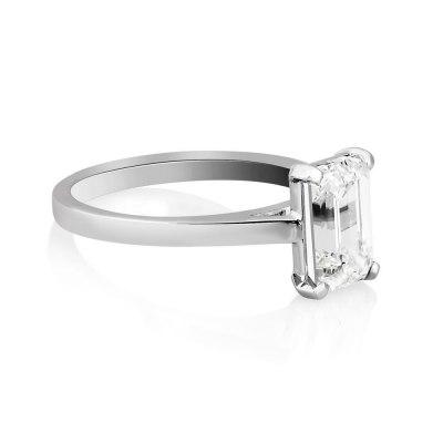 Solitaire Emerald Diamond Ring