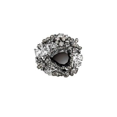 Floral Black Diamond Ring