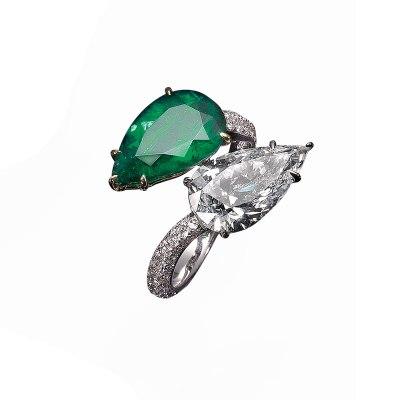 Emerald & Diamond Twin Stone Ring