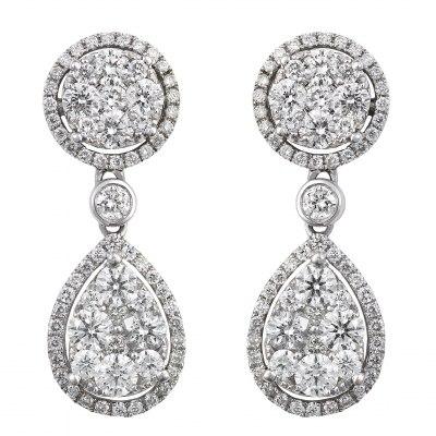Diamond Cluster Round and Teardrop Earrings