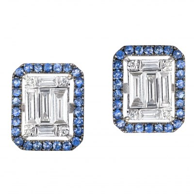 Diamond & Sapphire Cluster Emerald Earrings