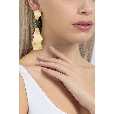 Trigon Chalcedony Gold Long Earrings