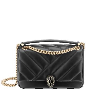 Bulgari Serpenti Cabochon Shoulder Bag Black