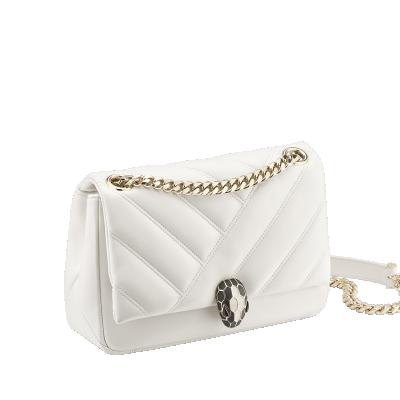 Bulgari Serpenti Cabochon Shoulder Bag White