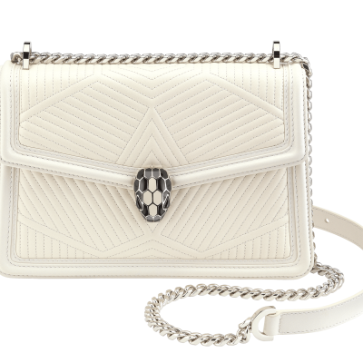 Serpenti Diamond Blast Shoulder Bag White Agate