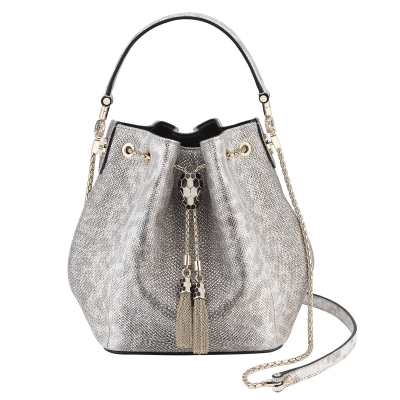 Bulgari Serpenti Forever Bucket Bag White Agate Metallic