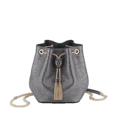 Bulgari Serpenti Forever Micro Bucket Bag in Charcoal Diamond Metallic