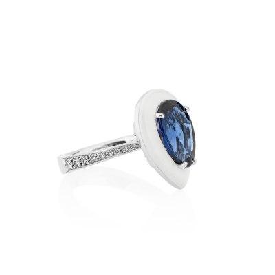 Anastasia Kessaris-Drop Sapphire Diamond Ring