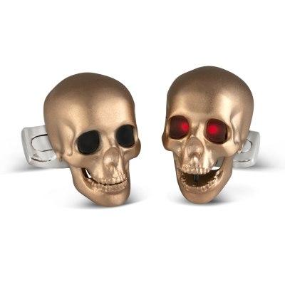 Skull Cufflinks with LED Eyes in Rose Gold Satin Finish
