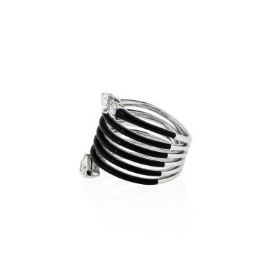 Black Ceramic & Diamond Statement Ring