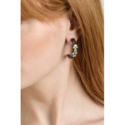 Black Rhodium Gold Diamond Earrings