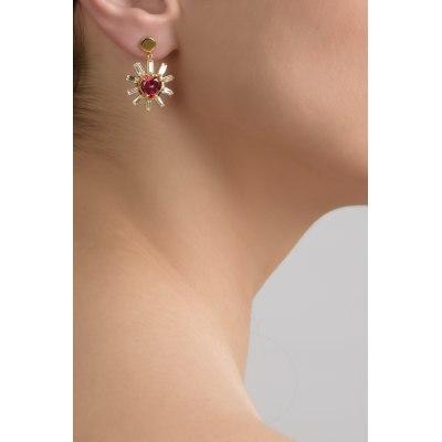 Red Heart and Diamond Rays Earrings