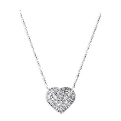 Heart Diamond Cluster Pendant Necklace