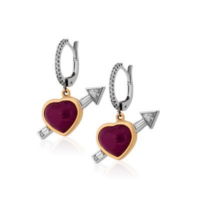 Heart Ruby Earrings
