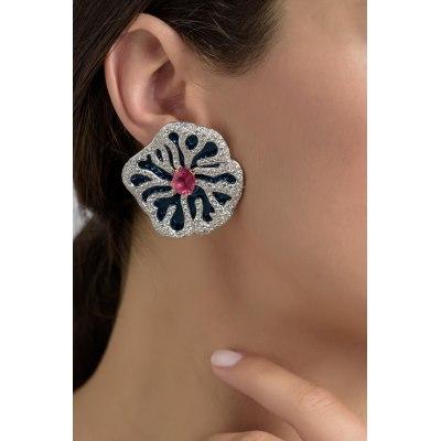 Statement Water Lilly Diamond & Tourmaline Earrings