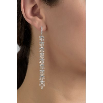 Brilliant and Briolette Diamonds Hanging Row Earrings