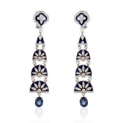 Blue Enamel Ornamented Chandelier Diamond and Sapphire Earrings