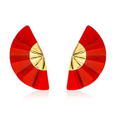 Kessaris-Golden Geisha Red Titanium Earrings