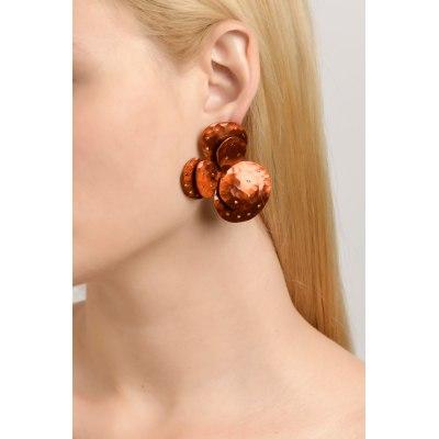 KESSARIS-Anemone Orange Titanium Earrings