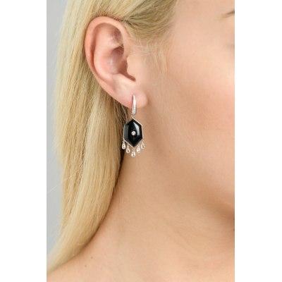 Kessaris-Black Onyx Diamond Drop Earrings