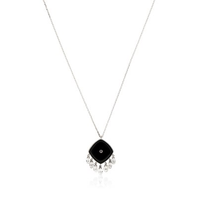 Kessaris-Black Onyx Diamond Square Pendant Necklace
