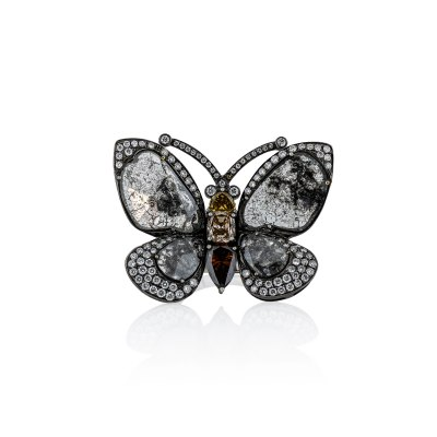 White & Brown Diamond Butterfly Ring