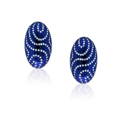 Kessaris-Diamond Deep Blue Earrings