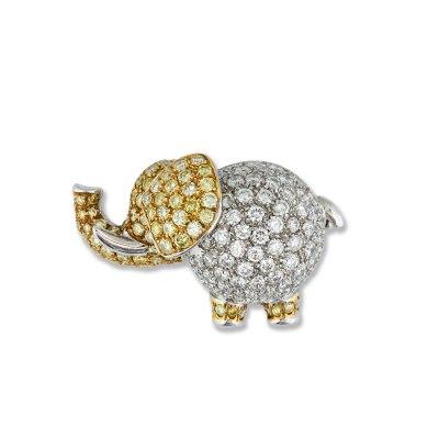 Diamond Elephant Brooch