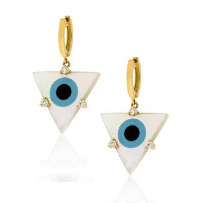 Evil Eye Triangle Mother of Pearl Earrings