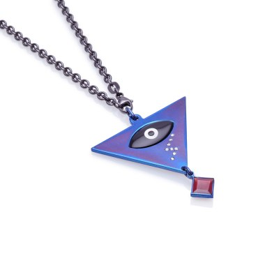 Eye Blue Titanium Diamond Pendant