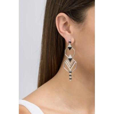 Geometrical Enamel Diamond Earrings