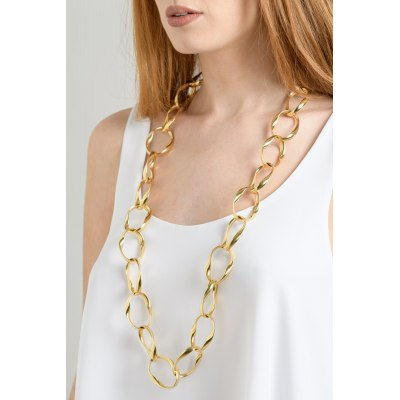 Kessaris-Gold Chain Link Necklace