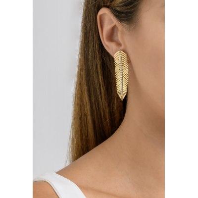 Kessaris-Gold Diamond Feather Earrings