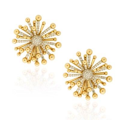 Kessaris-Golden Rays Diamond Earrings