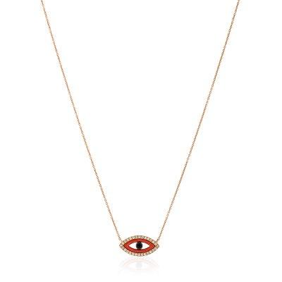 Red Evil Eye Diamond Pendant Necklace